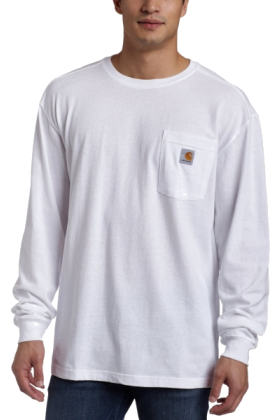 White long sleeve t shirt with pocket custom shirt for Carhartt long sleeve t shirts white