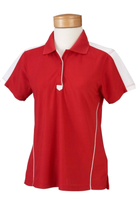 Chestnut Hill T-shirts -  Chestnut Hill Women's Short Sleeve Piped Technical Performance Polo Golf Shirt CH355W Red/White