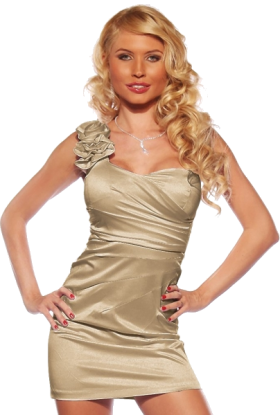 Hot from Hollywood Dresses -  Designer One Shoulder Satin Prom Party Evening Fitted Dress Light Champagne