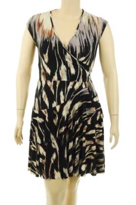 Donna Morgan Haljine -  Donna Morgan Stretch V-Neck Dress Black/Mauve