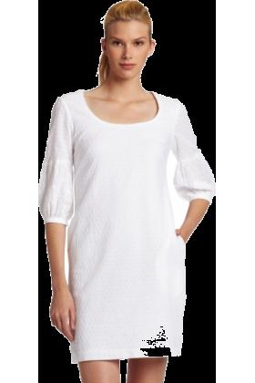 Donna Morgan Dresses -  Donna Morgan Women's 3/4 Sleeve Eyelet Shift Dress White