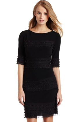 Donna Morgan Dresses -  Donna Morgan Women's 3/4 Sleeve Novelty Jersey Dress with Ruffle Black