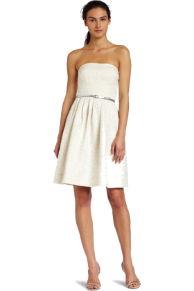 Donna Morgan Dresses -  Donna Morgan Women's Strapless Metallic Jacquard Dress Ivory/silver