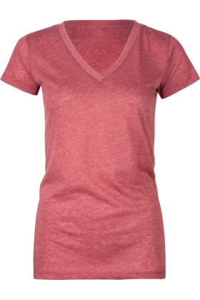 Full Tilt T-shirts -  FULL TILT Essential V-Neck Womens Tee Heather Red