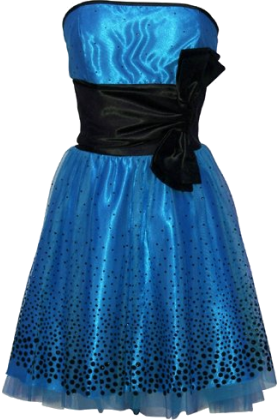 PacificPlex Dresses -  Flocked Polka Dot Strapless Net Holiday Party Gown Cocktail Prom Dress Black/Teal