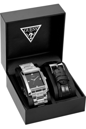 GUESS Watches -  GUESS Stainless Steel/Black Leather Boxed Watc
