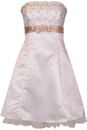 PacificPlex Dresses -  Gold Embroidered Strapless Holiday Formal Bridesmaid Gown Prom Dress With Tulle Junior Plus Size Ivory