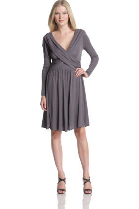 Halston Heritage Dresses -  HALSTON HERITAGE Women's Front Drape Dress Slate