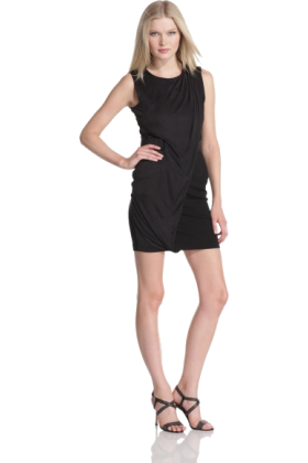 Halston Heritage Dresses -  HALSTON HERITAGE Women's Sleeveless Front Drape Dress Black