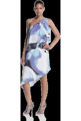 Halston Heritage Dresses -  Halston Heritage Women's Asymmetric Tiered Print Dress Galaxy