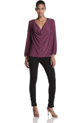 Halston Heritage Long sleeves shirts -  Halston Heritage Women's Beaded Cowl Blouse Plum