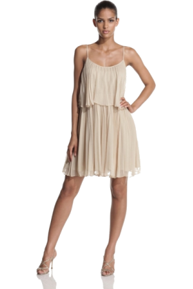 Halston Heritage Dresses -  Halston Heritage Women's Pleated Chiffon Tiered Cocktail Dress Sand