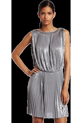 Halston Heritage Dresses -  Halston Heritage Women's Pleated Sleeveless Dress Sterling