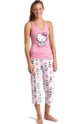 Hello Kitty Pajamas -  Hello Kitty Women's Color Me Pink 2 Piece Pajama Pant Set Light Pink