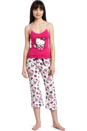 Hello Kitty Pajamas -  Hello Kitty Women's Hk Dreaming Of Love Two Piece Pajama Pant Set With Tank Top And Printed Pant Pink