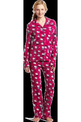 Hello Kitty Pajamas -  Hello Kitty Women's Print 2 Piece Notch Collar Top and Pant Pajama Set Pink