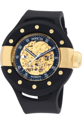 Invicta Relógios -  Invicta Men's 0868 S1 Automatic Gold Tone Skeleton Dial Black Polyurethane Watch