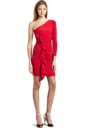 Jessica Simpson Dresses -  Jessica Simpson Women's One Sleeve Ruched Dress with Front Ruffle Barberry