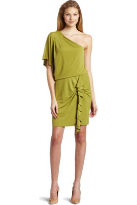 Jessica Simpson Dresses -  Jessica Simpson Women's Single Drape Sleeve Mini Dress Green Moss