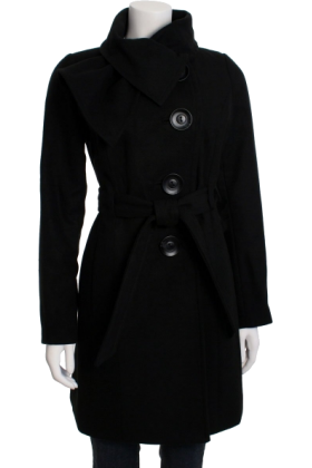 Jessica Simpson Jacket - coats -  Jessica Simpson Women's Tie Neck Belted Coat Black