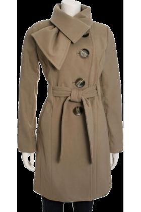 Jessica Simpson Jacket - coats -  Jessica Simpson Women's Tie Neck Belted Coat Mushroom