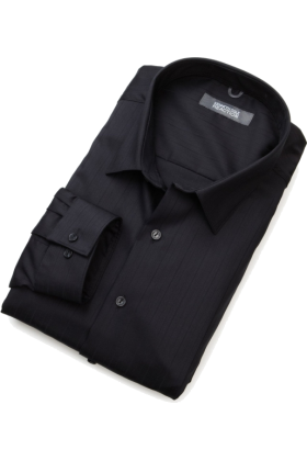 Kenneth Cole Reaction 半袖衫/女式衬衫 -  Kenneth Cole Reaction Men's Spread Collar Tonal Solid Woven Shirt Black
