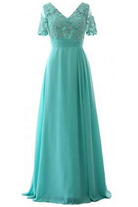 MACloth Dresses - MACloth Elegant V Neck Mother Of The Bride Dress Half  Sleeve Formal Evening Gown