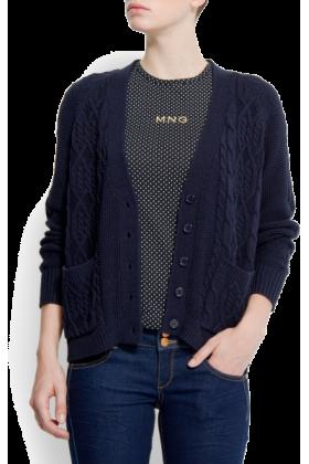 Mango Cardigan - Mango Women's Chunky Knit Blue - $69.99 - trendMe.net