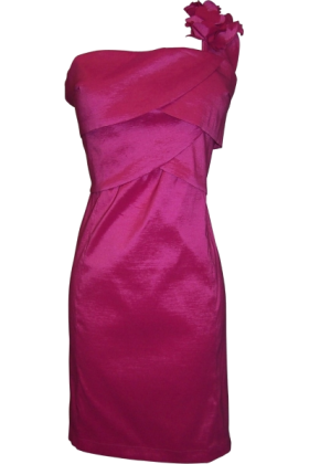PacificPlex Dresses -  One Shoulder Ruffle Strap Knee-length Taffeta Sheath Dress Fuchsia