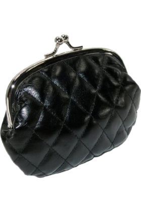 Mundi Clutch bags -  Quilted Lux Framed Coin Purse Black