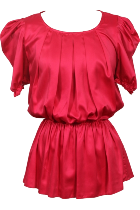 PacificPlex Long sleeves shirts -  Satin Pullover Blouse Puff Sleeve Junior Plus Size