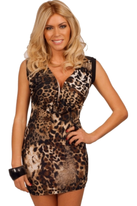 Hot from Hollywood Dresses -  Sleeveless Style Scoop Neck Animal Print Design Zipper Cocktail Party Mini Dress