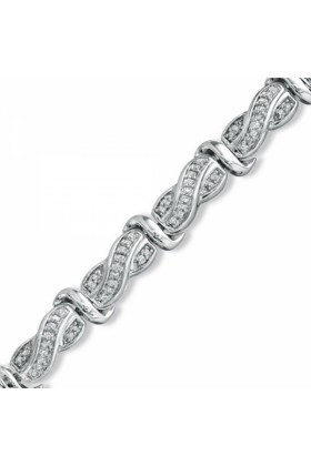 D-GOLD Bracelets -  Sterling Silver Princess-cut Diamond Twisted Fashion Bracelet (1cttw)