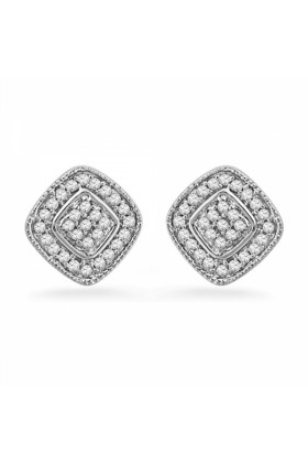 D-GOLD Earrings -  Sterling Silver Round Diamond Square Fashion Earring (0.20 CTTW)