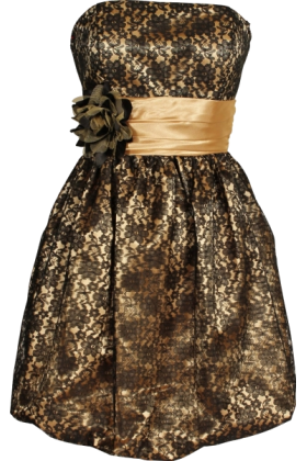 PacificPlex Dresses -  Strapless Lace Overlay Satin Bubble Prom Dress Black-Gold