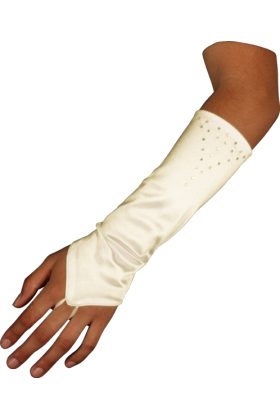 PacificPlex Gloves -  Stretch Satin Fingerless Gloves Forearm Length with Crystals