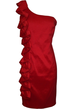 PacificPlex Dresses -  Taffeta Side Ruffle Knee-length Dress Red