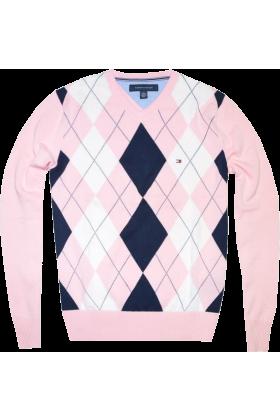 Tommy Hilfiger Pullovers - Tommy Hilfiger Men Argyle Pink - $39.99 ...
