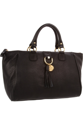Tommy Hilfiger Bag -  Tommy Hilfiger Tasseled Pebble East-West Satchel Black