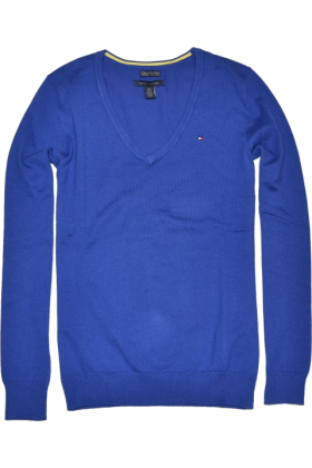 Tommy Hilfiger Pullovers - Tommy Hilfiger Women V-neck Blue ...