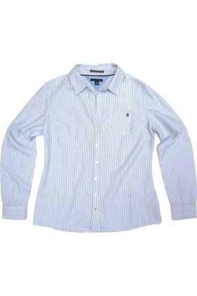 Tommy hilfiger long sleeves shirts tommy hilfiger womens for Light blue pinstripe shirt