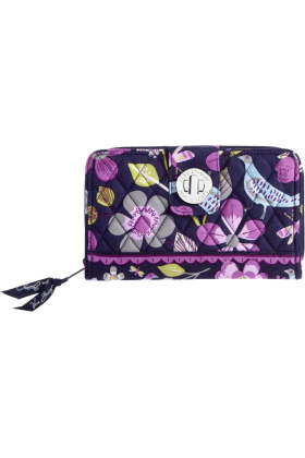 Vera Bradley Billeteras -  Vera Bradley Turn Lock Wallet Floral Nightingale