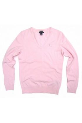Tommy Hilfiger Pullovers - Women's Tommy Hilfiger V-neck Pink ...
