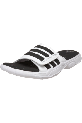 adidas Sandals -  adidas Men's SS 2G Slide PLUS Slide White/Black/Metallic Silver