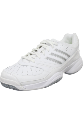 adidas Sneakers -  adidas Women's Ambition Stripes Vi W Tennis Shoe Running White/Metallic Silver/Electricity