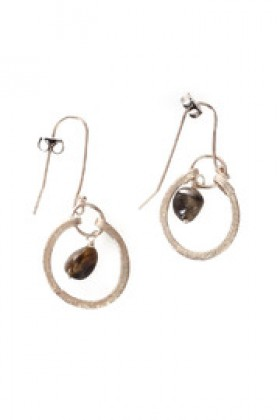 Shoptiques Brincos -  Oval Silver Earrings With Stone