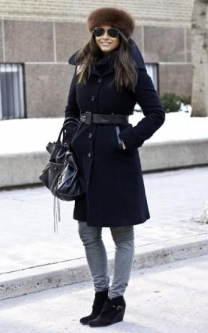 Black winter coat look - Školski look