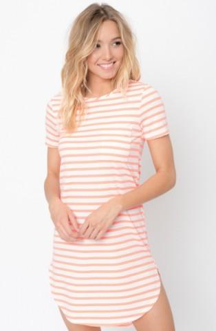 Neon coral hem tee dress - Striped hem tee dress