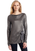 AK Anne Klein Long sleeves shirts -  AK Anne Klein Women's Long Sleeve Boat Neck Top Ash