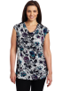 AK Anne Klein Pullovers -  AK Anne Klein Women's Plus Size Floral Extended Shoulder Cowl Neck Pullover Deep Sea Combo